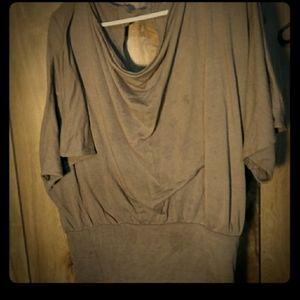 Tan cowl neck blouse